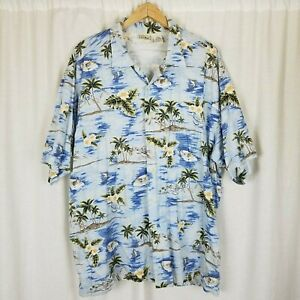 Vintage LL Bean Hawaiian Island Camp Shirt Swordfish Sea Planes Hibiscus Mens XL
