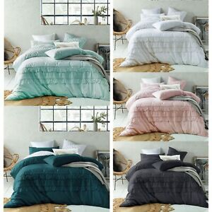 Tassel Linen Cotton Quilt Duvet Doona Cover Set - DOUBLE QUEEN KING Super King