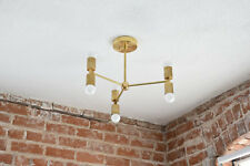 Modern Chandelier Gold Five 3 Arm 6 Light Pinwheel Bulb Brass Sp- polished Brass