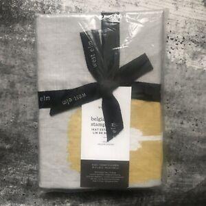 West Elm Euro Pillow Sham 100% Belgian Flax Linen Ikat Gray Gold Multi 26x26