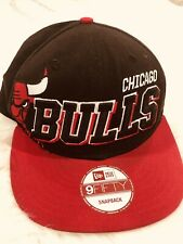 Chicago Bulls Snapback Hat Cap  9Fifty Embroidered 3D Logo Black Red NBA