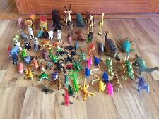 Lot Of 70 Plus Rubber & Plastic Wild Animals, Farm Animals, Bugs & Dinosaurs