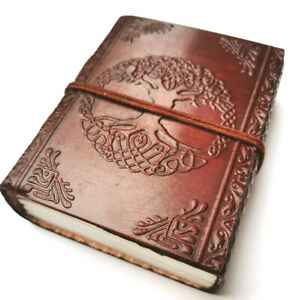 Celtic tree leather bound journal travel Book of Shadows steampunk book small