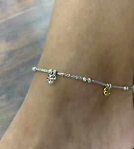 """18kt White And Yellow Gold 10"""" Chain Anklet Adjustable Hearts EUC"""
