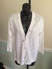 Investments White Embellished 3/4 Sleeve Cotton Blend Sweater - Small
