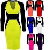 Women's Knee Length Midi Black Contrast Long Sleeve V neck Ladies Bodycon Dress
