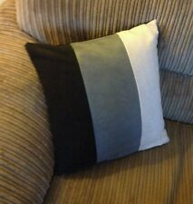 "18"" x 18""  Trendy Black grey cream faux suede cushion cover."