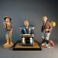 3 Vintage Hataka Japan Traditional Chalk Ware Figurines