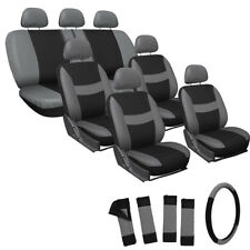 23pc Full Set Gray Seat Cover For Auto Van Truck SUVs W/Steering Wheel Head Rest