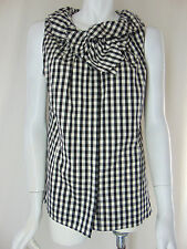 $198 LAFAYETTE 148 NY Clarissa Gingham Plaid Cotton Bow Shell Top Blouse 10 M