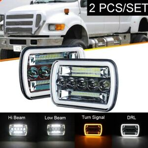 "Pair 240W 7X6"" LED Headlights Hi Lo Beam Amber Turning For Ford F150 250 300"