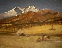 Indian Encampment-Evening 75cm x 57.5cm by Albert Bierstadt Canvas Print