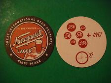 Beer Bar Coaster ~ NARRAGANSETT Lager, Providence, Rhode Island ~ Changing Times