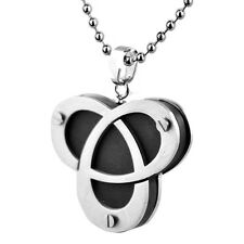 Stainless Steel Triquetra Irish Celtic Trinity Knot Pendant with Ball Chain