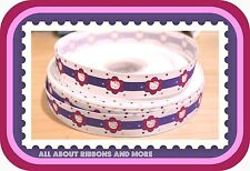 "7/8""HELLO KITTY WHITE GROSGRAIN RIBBON W PURPLE STRIPE AND FLOWERS - 1 YD"