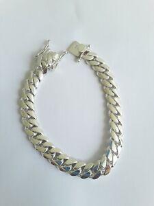 "Miami Cuban Link Bracelet Sterling Silver , 8 "" 10 MM  50 Grams"