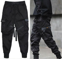 Men Black Cargo Pants Street Joggers Hip Harem Fashion Tactical Hop Trousers