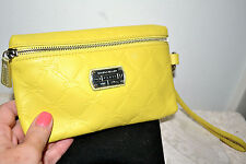 NWT $120 LONGSHAMP Cuir Wristlet Clutch Bag Pouch Handbag Leather SUN Yellow