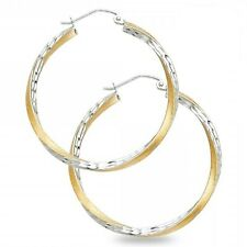 Curled Hoops 14k Yellow & White Gold Diamond Cut Earrings Satin Finish Solid