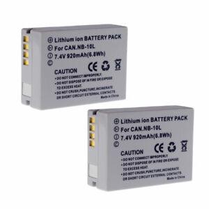 2X New NB-10L Battery For Canon Powershot G16 G15 SX50 HS SX40 HS SX60HS G1 X
