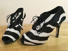 DOLCE & GABBANA Pony Zebra Peep Toe Leather Italy NEW Booties Size 8