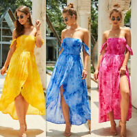 2019 Womens Maxi Boho Floral Off Shoulder Beach Evening Cocktail Party Sun Dress