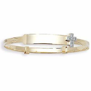 """9ct Gold Baby id Bangle Personalised Engraved Christening Cross Expanding 5.5"""""""