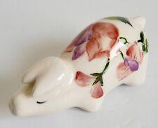 More details for vintage griselda hill pottery small piglet figure wemyss ware floral signed pig
