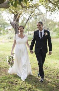 Ivory Silk and Lace Wedding Dress