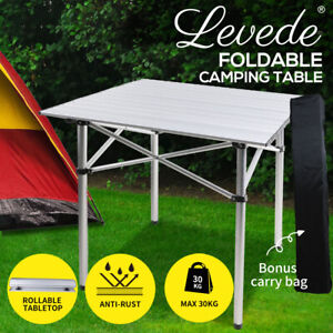 Levede Roll Up Camping Table  Folding Portable Aluminium Outdoor BBQ Desk Picnic