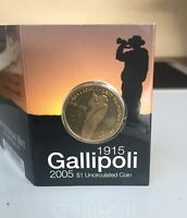 "2005 ANZAC 1915 ""GALLIPOLI REMEMBRANCE"" ~ RAM UNCIRCULATED $1 ""C"" COIN ON CARD."
