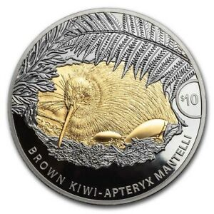 2021 New Zealand 5 oz Silver Brown Kiwi Proof with Gold Gilding - SKU#229943