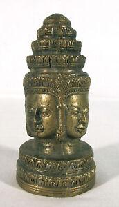 Angkor Thom Buddha Lokesvara Bodhisattva Tantric 4 faced Bronze Brass yqz
