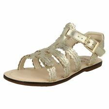 Clarks Girls Loni Moon Smart Leather Strappy Sandals UK 1 F Fitting Gold