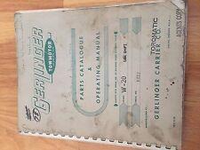 Gerlinger Towmotor W 20 Lift Truck Parts Catalog Operation Manual
