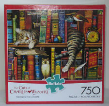 Buffalo Games 750 Piece Puzzle Cats of Charles Wysocki FREDERICK THE LITERATE