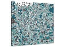 Teal Blue Street Map of Leicester - Canvas Wall Art Accessories - 1s453s - 49cm