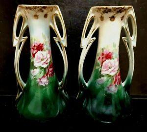 Antique Pr. Mantle Vases ART NOVEAU 1920 Floral Roses Pattern Austrian Porcelain