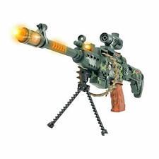 "Toy gun kids rifle machine gun stand scope ammo belt LED lights sound  24"" long"