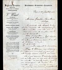 """PARIS (VII°) MARBRIER SCULPTEUR Pierre Marbre Granit """"V. WUIOT"""" en 1922"""