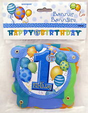 First Birthday Boy Blue Jointed 50 inch Hanging Banner Party Decoration 1st