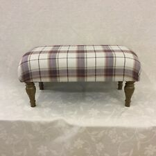 Footstool upholstered in Laura Ashley highland check grape