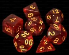 7 Piece Polyhedral Dice Set - Philosopher's Stone Deep Red Marble - Burgundy Bag