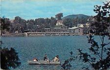 Lake Placid New York~Lakeside Motor Inn~Rowboat Fishing~1960s Postcard