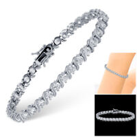 14K White Gold .5 Carat Brass Diamond Moissanite Sterling Silver Tennis Bracelet