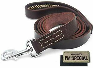 Leather Dog Leash 6 Feet Wrapped Handle Brown Heavy Duty Padded Lead for Dogs