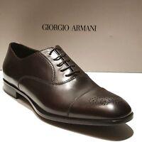 Giorgio Armani Brown Leather Formal Dress Captoe Brogue Oxford 9.5 Men's Shoes