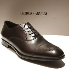 Giorgio Armani Brown Leather Formal Dress Captoe Brogue Oxford 10 43 Men's Shoes