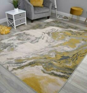 Gold Yellow Grey Marble Effect Modern Good Quality Rugs Small Large Carpets Mats