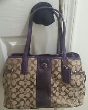 Women's Coach Signature Jacquard Handbag Shoulder Bag》Tan & Purple